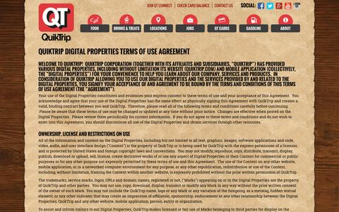 Screenshot of Terms Page quiktrip.com - Terms Of Use - captured Oct. 1, 2015