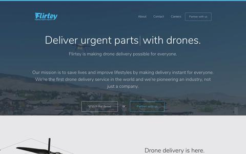Screenshot of Home Page flirtey.com - Flirtey | Real-time delivery by flying robots - captured Aug. 13, 2018