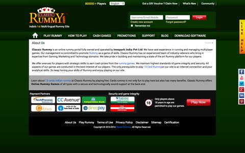 Screenshot of About Page classicrummy.com - Rummy Games | Online 13 Cards Indian Rummy | Free Rummy - Classic Rummy - captured Sept. 18, 2014