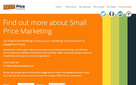Screenshot of About Page smallpricemarketing.co.uk - Contact Small Price Marketing & discuss your marketing needs | Liverpool Knowsley Merseyside Marketing - captured Oct. 29, 2014