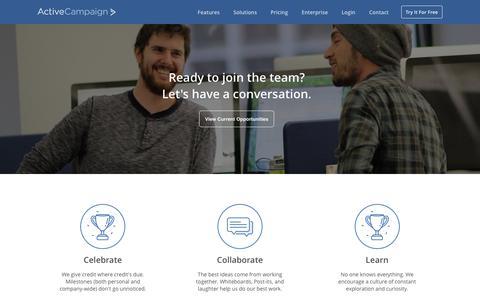 Screenshot of Jobs Page activecampaign.com - Careers - captured June 20, 2017