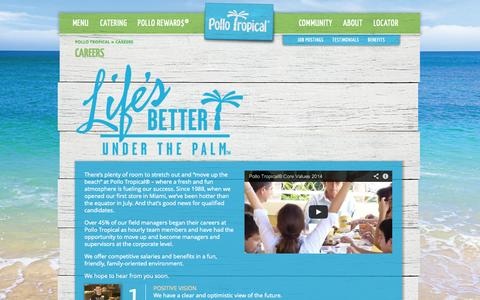 Screenshot of Jobs Page pollotropical.com - Pollo Tropical Careers– Jobs, Employment Opportunities - captured Sept. 25, 2014