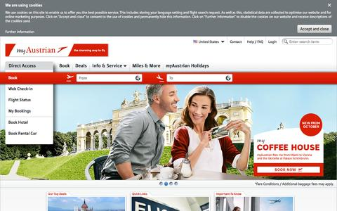 Screenshot of Home Page austrian.com - Austrian Airlines - Book cheap flights now - captured Oct. 22, 2015