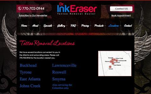 Screenshot of Locations Page doctorinkeraseratl.com - Tattoo Removal Locations - Atlanta, GA - captured Oct. 5, 2014