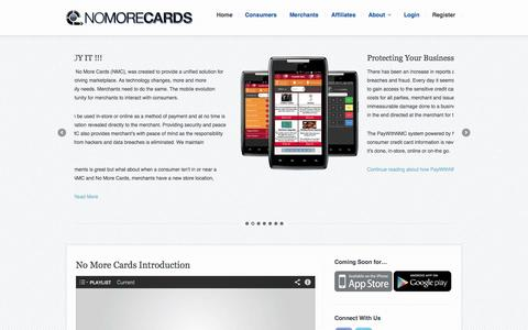 Screenshot of Home Page Privacy Page Terms Page nomorecards.com - No More Cards | See It, ... Scan It, ... Buy It - captured Oct. 6, 2014