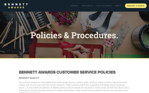 Screenshot of Support Page bennettawards.com - Bennett Awards - Customer Service — Bennett Awards - Custom Sculpture Awards & Unique Recognition Trophies - captured Sept. 30, 2014