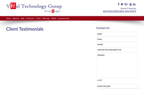 Screenshot of Testimonials Page godigitaldds.com - Managed Solution Provider | Vital Technology Group, LLC | Testimonials - captured Sept. 29, 2018