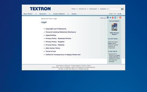 Screenshot of Terms Page textron.com - Legal - captured Dec. 1, 2015