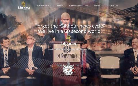 Screenshot of Home Page bigideacompany.com - Big Idea Company   Public Relations & Marketing at the Speed of Life - captured Oct. 10, 2017