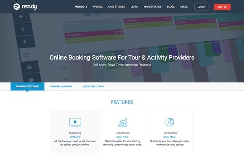 Screenshot of Products Page rezdy.com - Online Booking Software : Rezdy - captured Nov. 18, 2015