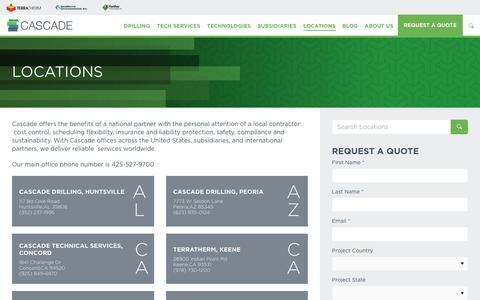 Screenshot of Contact Page Locations Page cascade-env.com captured Dec. 21, 2016