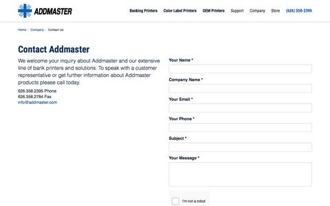 Screenshot of Contact Page addmaster.com - Contact Addmaster - Addmaster Corporation - captured Sept. 24, 2018