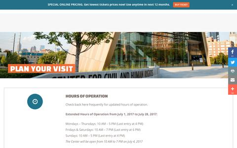 Screenshot of Hours Page civilandhumanrights.org - Plan Visit | Center for Civil and Human Rights - captured June 30, 2017