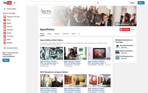 Screenshot of YouTube Page youtube.com - AgoraGallery  - YouTube - captured Oct. 23, 2014