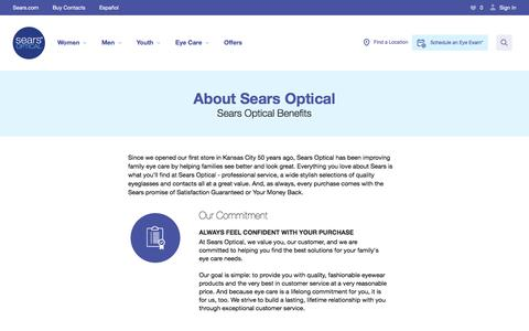 Screenshot of About Page searsoptical.com - About Sears Optical Center: Eyeglassses & Contacts, Vision Center, Family Eye Care | Sears Optical - captured Dec. 24, 2016