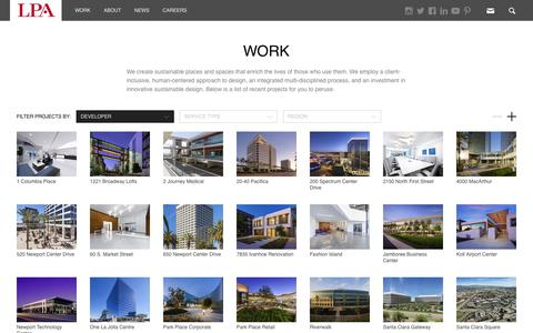 Screenshot of Developers Page lpainc.com - Work | LPA Inc. - captured July 14, 2018