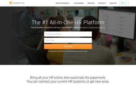 Screenshot of Home Page zenefits.com - Zenefits: Online HR Software | Payroll | Benefits - All-In-One - captured Dec. 28, 2015