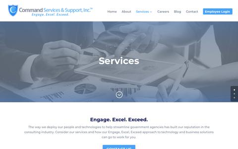 Screenshot of Services Page cmdss.com - Cyber Security, IT Engineering Operations, Project Management   Services   Command Services & Support, Inc. - captured Sept. 29, 2018