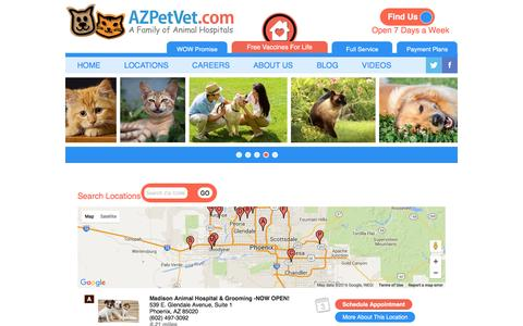 Screenshot of Contact Page Locations Page arizonapetvet.com - AZ Pet Vet Locations - captured March 4, 2016