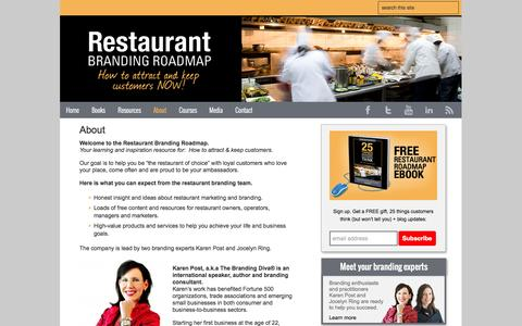Screenshot of About Page restaurantbrandingroadmap.com - Restaurant Marketing   Restaurant Branding   Restaurant Branding Roadmap - captured Oct. 5, 2014