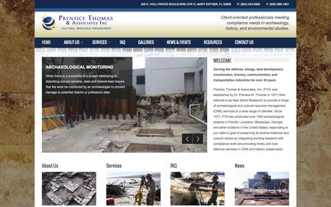 Screenshot of Home Page prenticethomas.com - Prentice Thomas & Associates Archaeology, Mary Esther, FL | Archaeological Digs Louisiana - captured June 18, 2015