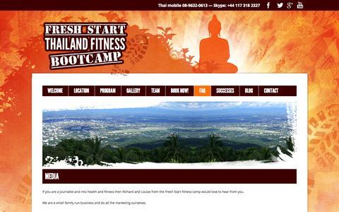 Screenshot of Press Page thailandfitnessbootcamp.com - Media Enquiries | Fresh Start :: Thailand Fitness Bootcamp - captured Oct. 6, 2014