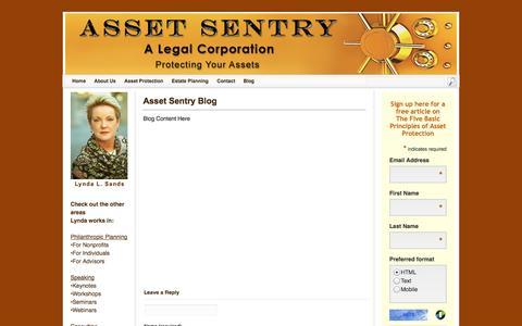 Screenshot of Blog assetsentrylegal.com - Asset Sentry Blog - captured Nov. 5, 2014