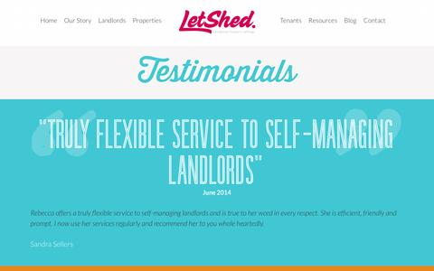 Screenshot of Testimonials Page letshed.co.uk - Testimonials - Letshed - captured Oct. 2, 2014