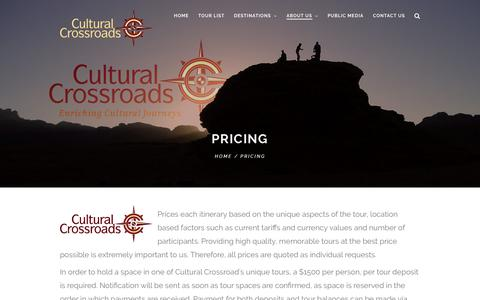 Screenshot of Pricing Page culturalcrossroads.com - Pricing | Enriching Cultural Journeys - captured July 23, 2018