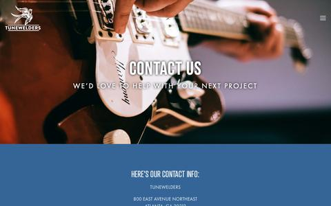 Screenshot of Contact Page tunewelders.com - Contact page for Tunewelders — Tunewelders Music Group - captured May 29, 2019