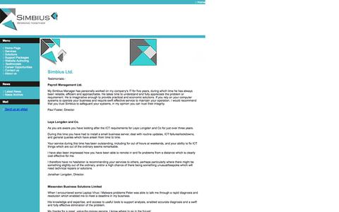 Screenshot of Testimonials Page simbius.co.uk - Simbius Ltd.  :: Testimonials :: Providing ITC Solutions for Homes and Small Businesses - captured Oct. 26, 2014