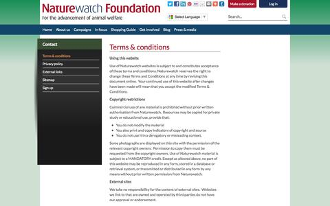 Screenshot of Terms Page naturewatch.org - Terms & conditions - Naturewatch - captured Oct. 7, 2014