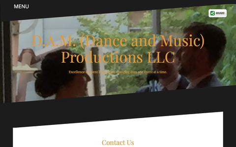 Screenshot of Contact Page damproductions.us - Contact Us - D.A.M. (Dance and Music) Productions LLC - captured Nov. 23, 2016