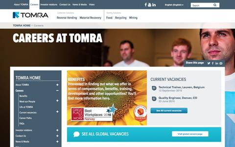 Screenshot of Jobs Page tomra.com - Careers at TOMRA: Join us in Leading the Resource Revolution! Working at : TOMRA - captured Oct. 13, 2016