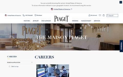 Screenshot of Jobs Page piaget.com - Careers - Piaget Luxury Watchmaker and Jeweler - captured Aug. 10, 2018