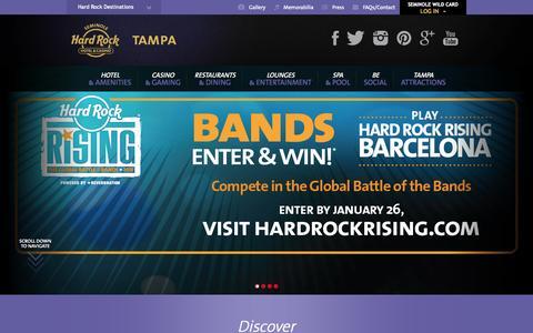 Screenshot of Home Page seminolehardrocktampa.com - Seminole Hard Rock Hotel and Casino Tampa - captured Jan. 23, 2015