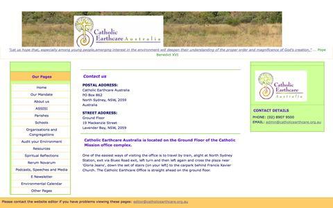 Screenshot of Contact Page catholicearthcare.org.au - Catholic Earthcare Australia - captured Sept. 29, 2014