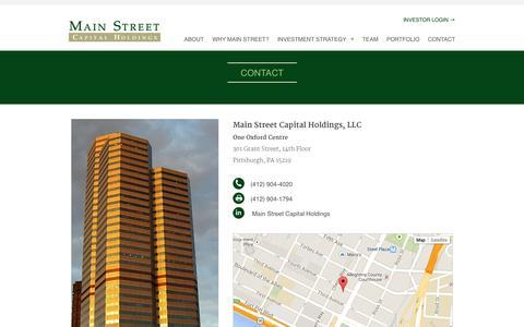 Screenshot of Contact Page mainstcap.com - Contact | Main Street Capital - captured Oct. 3, 2014
