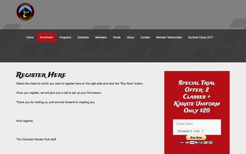 Screenshot of Signup Page coloradokarateclub.com - Sign up - captured May 19, 2017