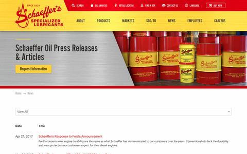 Screenshot of Press Page schaefferoil.com - Schaeffer Oil   Oil Industy News, Company Press Releases, Articles - captured Oct. 5, 2017