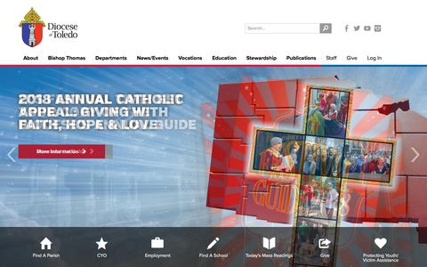 Screenshot of Home Page toledodiocese.org - The Catholic Diocese of Toledo - captured July 3, 2018