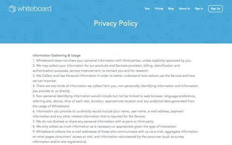 Screenshot of Privacy Page whiteboard.co - Privacy Policy - Whiteboard - captured Nov. 17, 2015