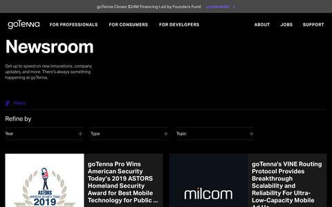Screenshot of Press Page gotenna.com - Newsroom    – goTenna - captured Dec. 4, 2019