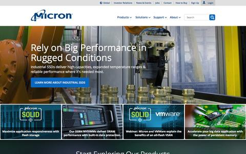 Screenshot of Home Page micron.com - Micron Technology, Inc. - Home | Memory and Storage Solutions - captured Dec. 11, 2015