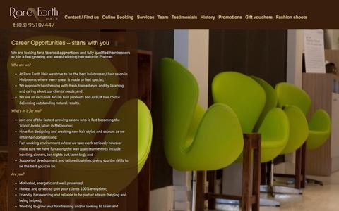 Screenshot of Jobs Page rareearthhair.com.au - Hairdressing Careers | Rare Earth Hair Salon - captured Oct. 7, 2014