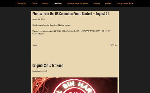 Screenshot of Press Page origsin.com - Original Sin Hard Cider / Blog — Original Sin Hard Cider - captured Oct. 7, 2014