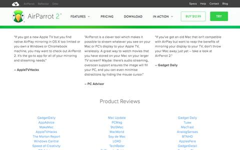 Screenshot of airsquirrels.com - Technology Reviews and Ratings for AirParrot AirPlay Mirroring - captured Feb. 3, 2017