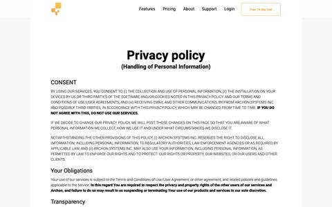 Screenshot of Privacy Page inflowinventory.com - Best Inventory Management Software System - inFlow Privacy Policy - captured Sept. 28, 2018