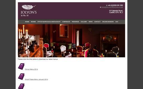 Screenshot of Menu Page jolyons10.com - Menu | Jolyon's at no. 10 - captured Oct. 3, 2014