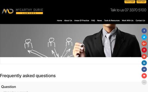 Screenshot of FAQ Page mdl.com.au - FAQ - McCarthy Durie Lawyers - captured Oct. 2, 2018